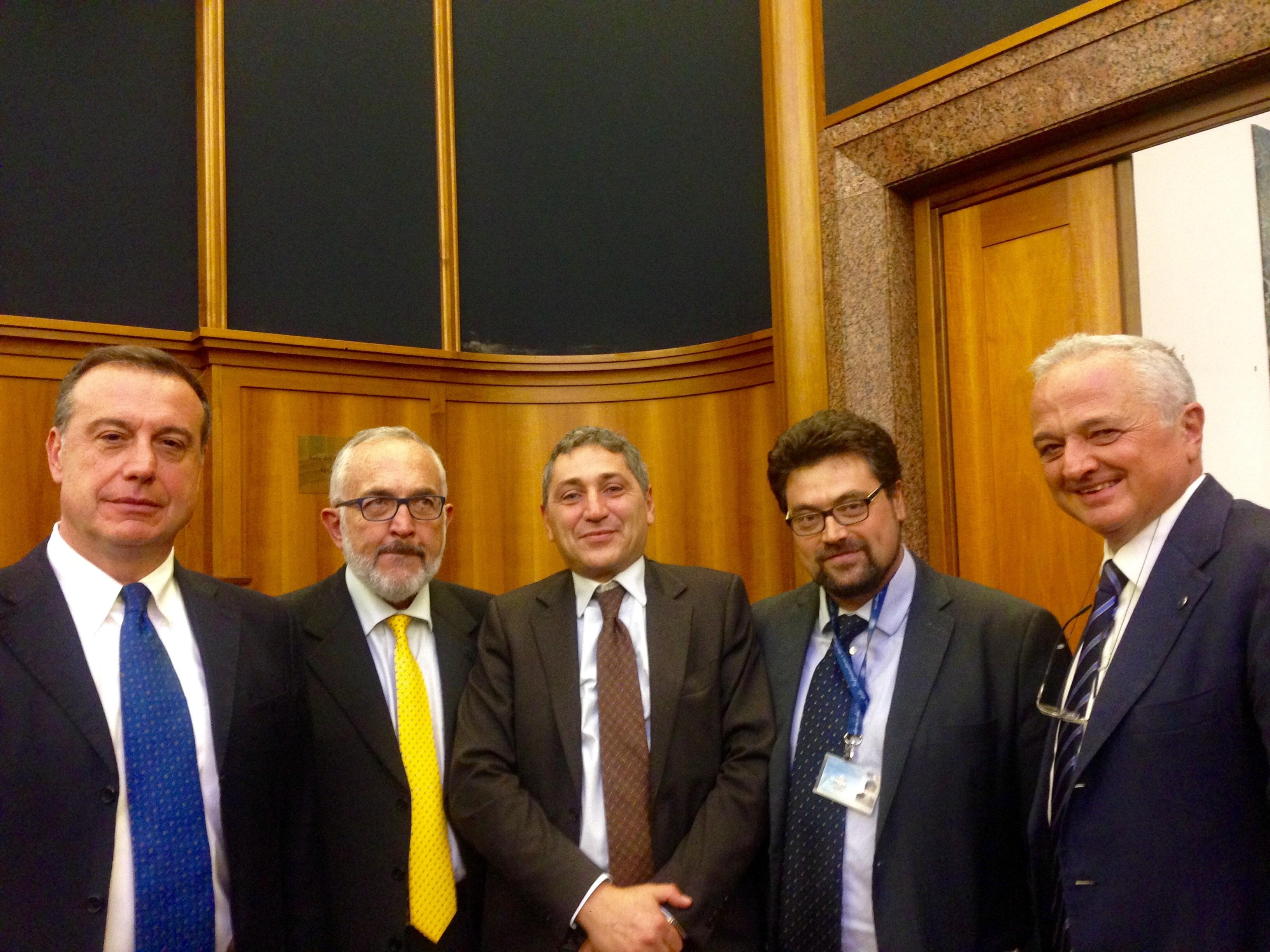 Da sinistra: Sessa, Ievolella, Occhiuzzi, Renzi e Cosenza