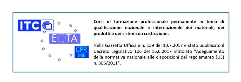 Corsi di formazione professionale permanente in tema di qualificazione nazionale e internazionale dei materiali