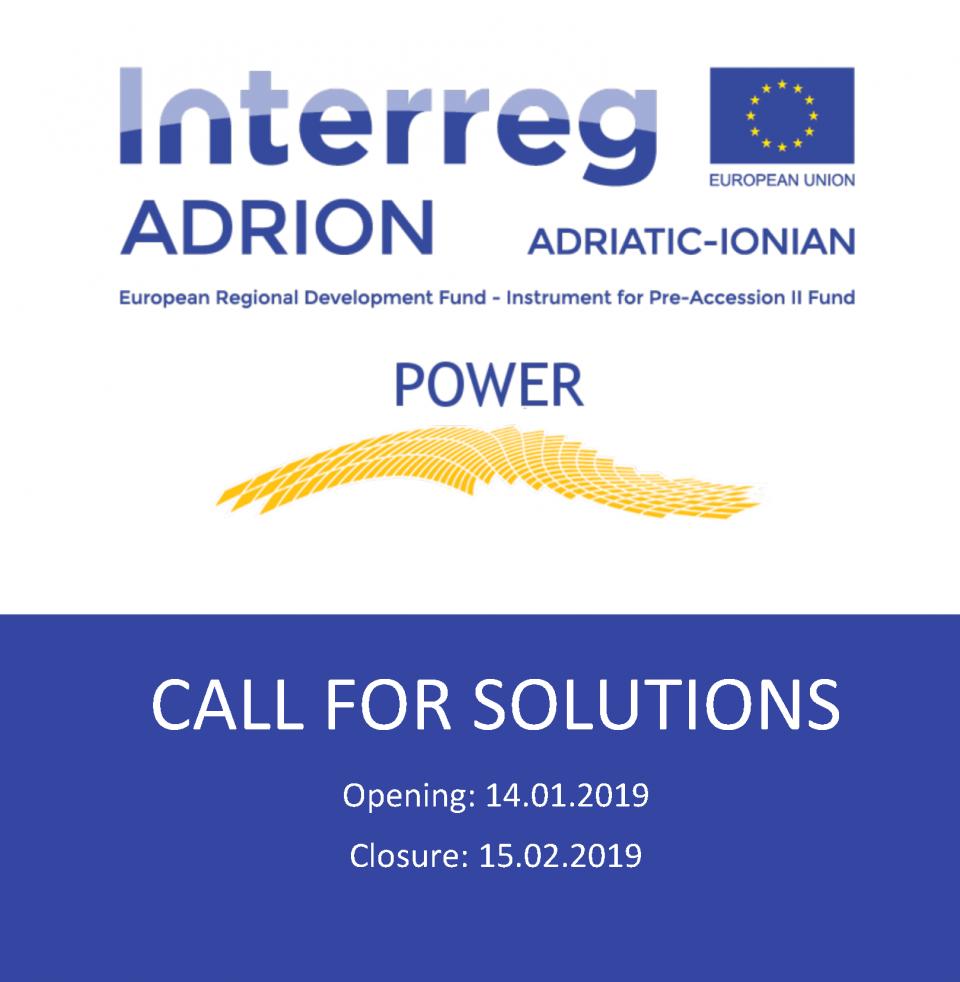 Progetto PoWER: Call for solutions (chiusura bando: 15/02/2019)