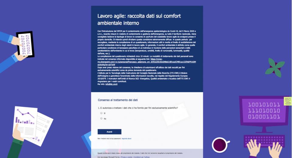 Lavoro agile: raccolta dati sul comfort ambientale interno