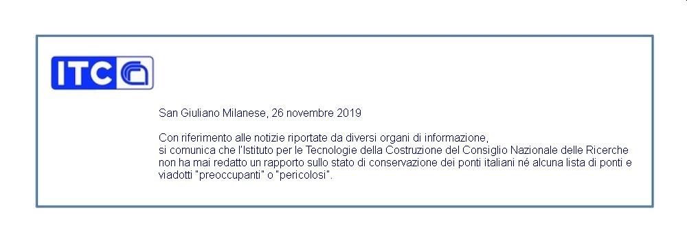 Comunicato ITC 26/11/19